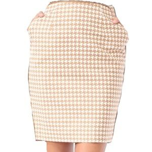 Tan houndstooth pencil skirt